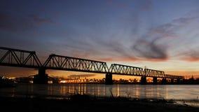 Railway bridge. Under the darkening sky Royalty Free Stock Photo