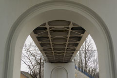 Railway bridge from underneath. Metal support construction royalty free stock images