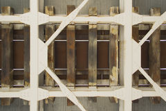 Railway bridge from underneath. Metal support construction royalty free stock photo