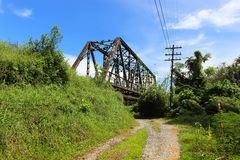 Railway bridge via nature scene. In Nakhon Si Thammarat, Thailand Stock Photography