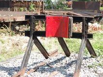 Railway buffer- end of the line. Stock Image