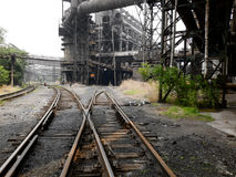 Railway and building in an abandoned steel works Stock Images