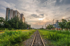 Beside Railway. Building between railway with nice sky Stock Photography