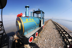 Railway in Caka Salt Lake Royalty Free Stock Photography