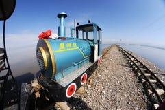 Railway in Caka Salt Lake Royalty Free Stock Photography