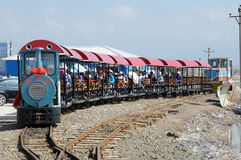 Railway in Caka Salt Lake Royalty Free Stock Images