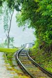 Death Railway along the mountain. This railway is called Death Railway or  Burma–Siam Railway or Thailand–Burma Railway was built during World War II in Royalty Free Stock Images