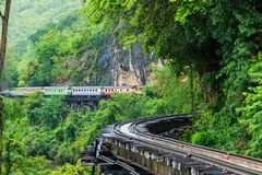 Death Railway along the mountain. This railway is called Death Railway or  Burma–Siam Railway or Thailand–Burma Railway was built during World War II in Royalty Free Stock Photos