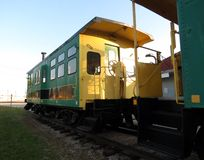 Railway Car. The evening sun casts shadows on an old railway passenger car royalty free stock photography
