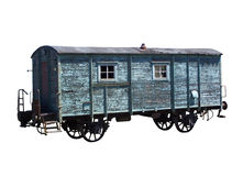 Railway carriage. Old, more antique railway carriage, isolated stock images