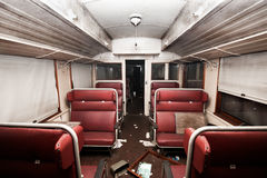 Railway carriage. Inside old worn out and trashed railway carriage Stock Image