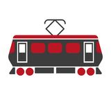 Railway carriage electric train  on white. Railroad transport item. Railway carriage electric train in black and red colors  on white. Railroad transport item Stock Photography