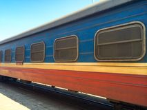 Railway carriage with grids on the windows Royalty Free Stock Image
