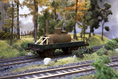 Railway carriage model with cargo. On rails in landscape Royalty Free Stock Images