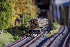Railway carriage model loaded with tree trunks. On rails in landscape stock images