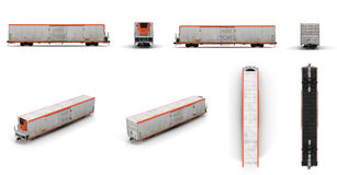 Railway carriage Refrigerator renders set from different angles on a white. 3D illustration Royalty Free Stock Photos