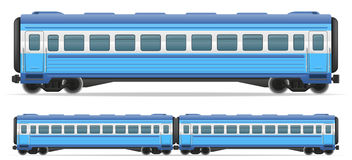 Railway carriage train vector illustration. On white background Stock Images
