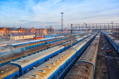 Railway carriages long-distance train station Royalty Free Stock Image