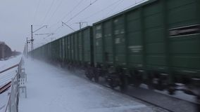 Railway Carriages in motion. Railroad cars near the platform. Trans-Siberian Railway, Russia. Full HD Resolution 1920×1080 Video Frame Rate 29.97 Length 0:10 stock video footage