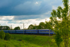 Railway carriages. Tilt shift. Royalty Free Stock Images