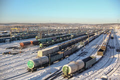 Railway. Cars in accumulation in the railyard Stock Photo