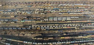 Railway cars , aerial view Royalty Free Stock Photography