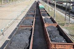 Railway. The cars of coal. Royalty Free Stock Photos