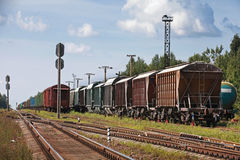 Railway cars stand on cargo station Royalty Free Stock Images