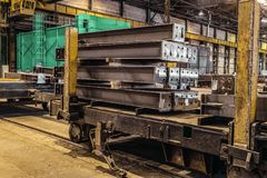 Railway cart with steel products Stock Image