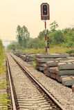 Railway and  cement block Stock Images
