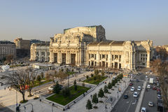 Railway central station above view, Milan Royalty Free Stock Photos