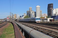 Railway by the central station in Buenos Aires. Royalty Free Stock Image