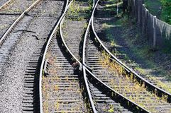 Railway change of direction point. Stock Photo