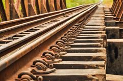 Railway. Close up of a railroad track Stock Image