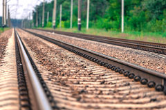 Railway close-up. Summer day Royalty Free Stock Photo
