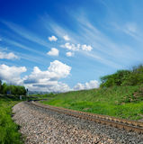 Railway and clouds Royalty Free Stock Images