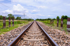 Railway. In the cloudy season Royalty Free Stock Photo