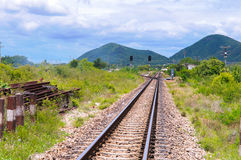 Railway. In the cloudy season Royalty Free Stock Photography