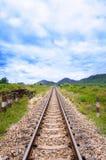 Railway. In the cloudy season Stock Photos