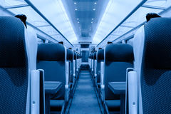 Railway coach interior, monochromatic Royalty Free Stock Images
