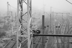 Railway in the cold misty morning Stock Photography