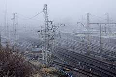 Railway in the cold morning Royalty Free Stock Images