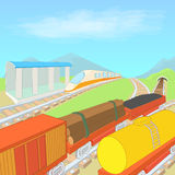 Railway concept, cartoon style Stock Photos