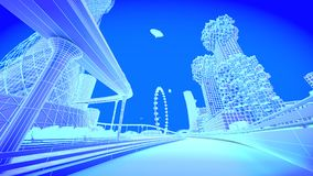 Railway. Concept future city skyline. Futuristic business vision concept. 3d illustration. Royalty Free Stock Images