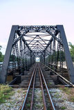Railway construction bridge. Oldold iron railway construction bridge Royalty Free Stock Photography