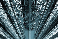 Railway construction canopy.Glass roof structure. Stock Photo