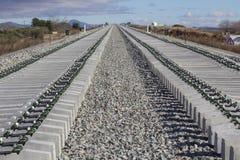 Railway on construction Stock Photo