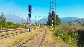Railway. Construction of railways work background stock photos
