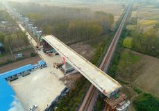 Railway construction site in huaian city, jiangsu province, China. On the site of the high-speed railway construction in huaiyang town in huaian city, jiangsu Royalty Free Stock Images