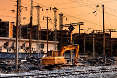 Railway construction site in sunset Royalty Free Stock Photos
